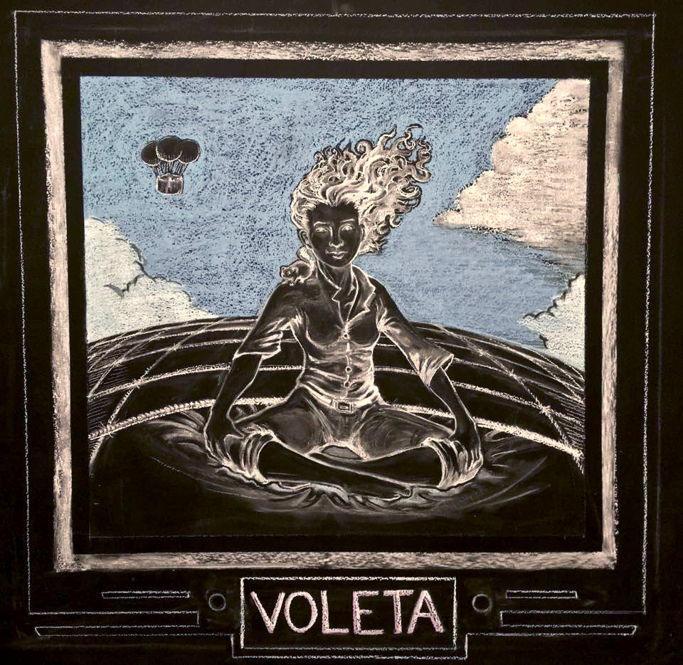 Voleta and Squit atop the  Stone Cloud.  (Chalk, 2016)