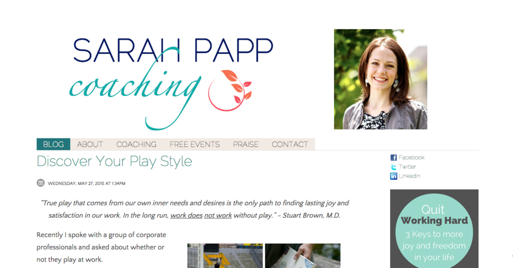 Sarah's homepage before. She did a wonderful job creating this version herself a few years prior, but was ready to evolve her brand to a more mature and professional vibe.