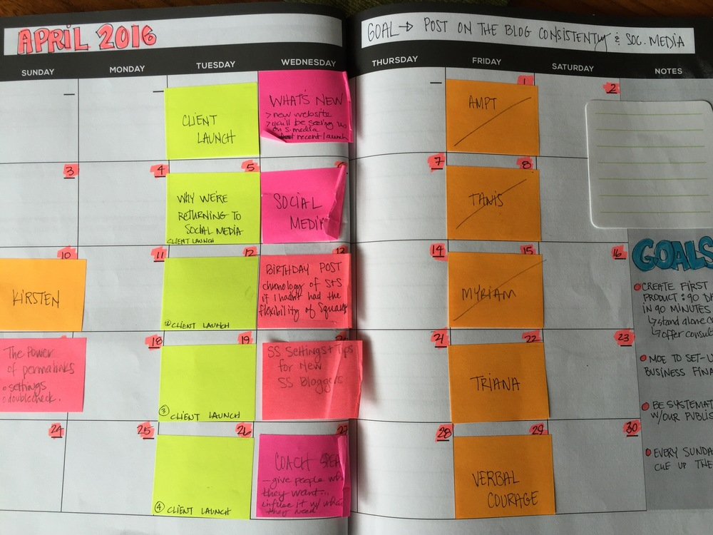 At the beginning of a month I get out a calendar and put sticky notes on the dates that I will be publishing.