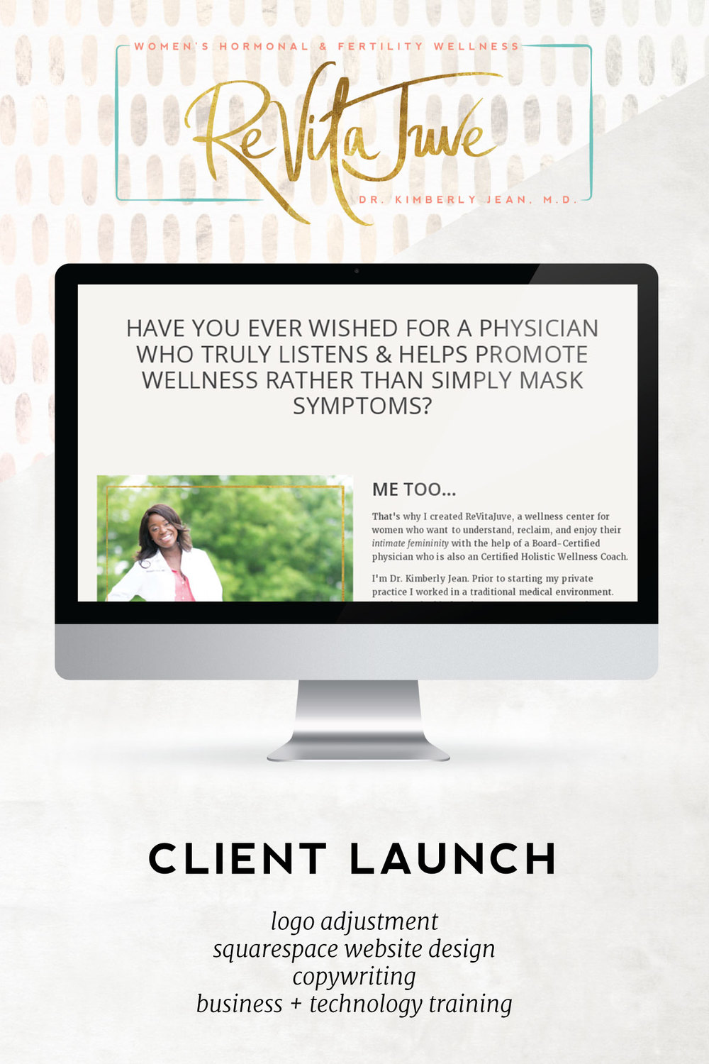 This week we're sharing a launch story for our lovely client Dr. Kimberly Jean M.D. The priority and strategy behind her site was to enable patients to quickly and easily book consultations and appointments. We made sure that all roads on her site lead to increased connection through her sleek appointment booking functionality or her stellar opt-in,  The Hormone Health Kit.