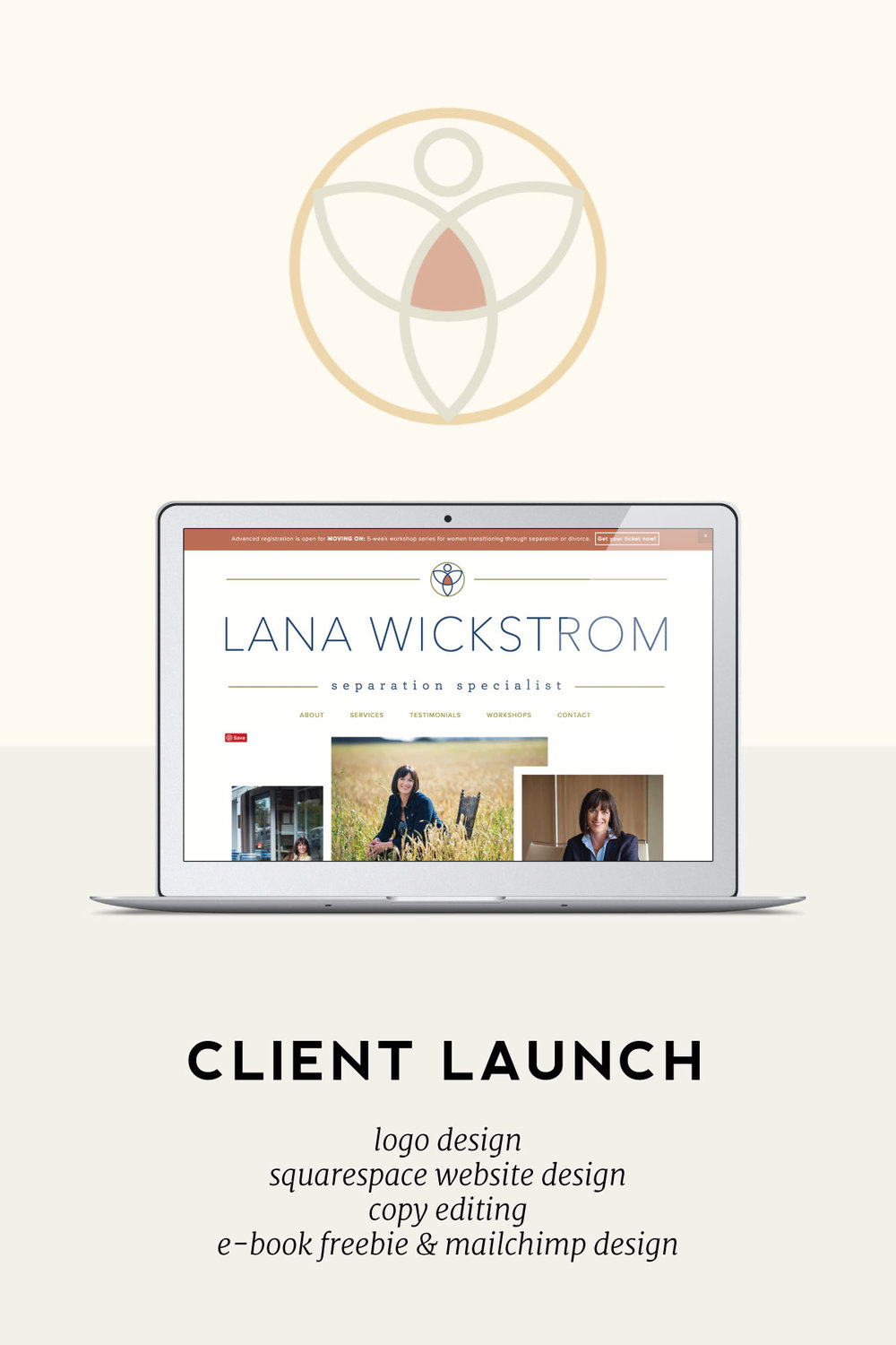 This week we're sharing the launch story of our wonderful client, Lana Wickstrom. Lana is a retired lawyer who specializes in helping couples navigate the confusing legal process of separation and divorce. Her brand needed to evoke calm, safety, strength, and professionalism. Read about the journey we took with Lana as we created her branding, Squarespace website, email freebie, Mailchimp template design, and polished her copy.