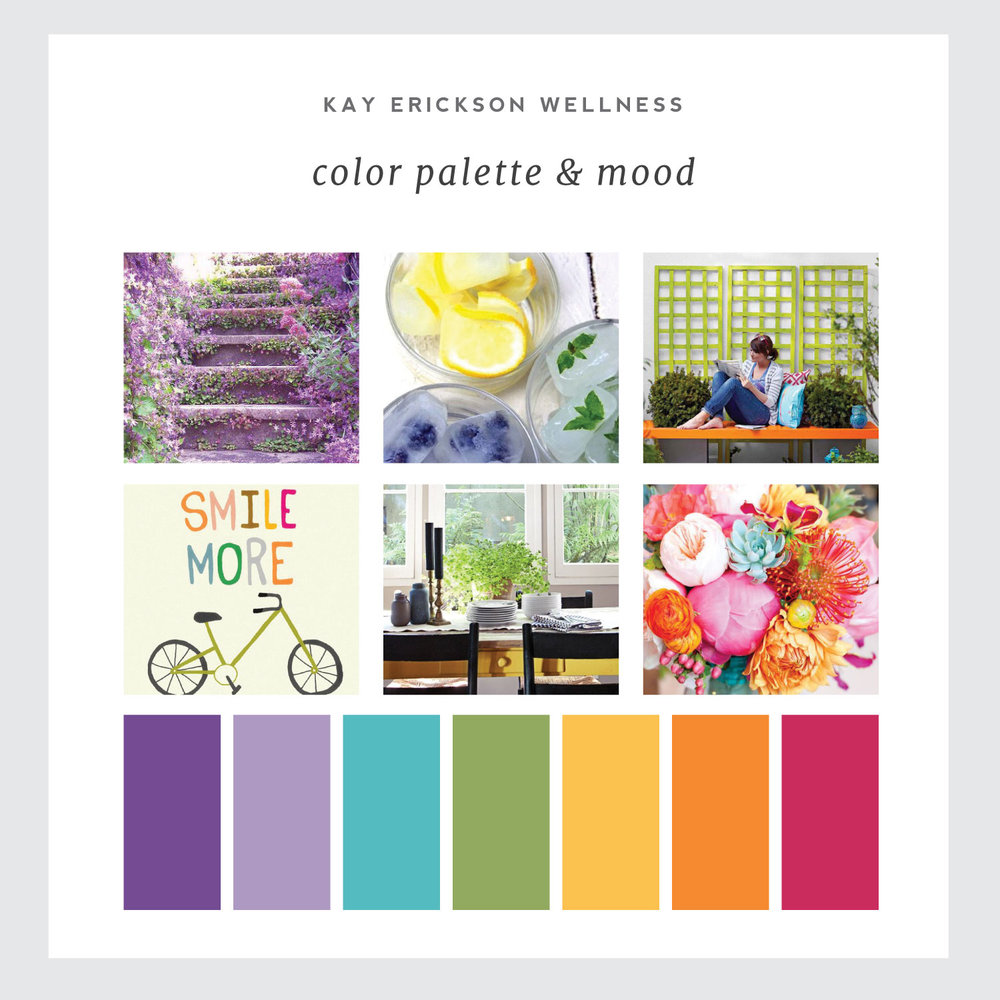 Mood board for certified wellness coach Kay Erickson. We used this personality and color palette to bring her brand to life on her new Squarespace website. By Simple and Soulful Creative.
