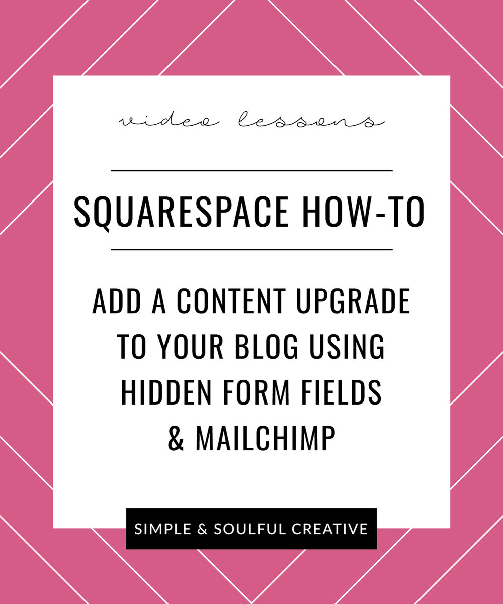 Three step-by-step video lessons to show you how to upload an opt-in to your Squarespace site, easily organize your new subscribers on one Mailchimp list, and deliver your freebie gift with ease. Simple & Soulful Creative.