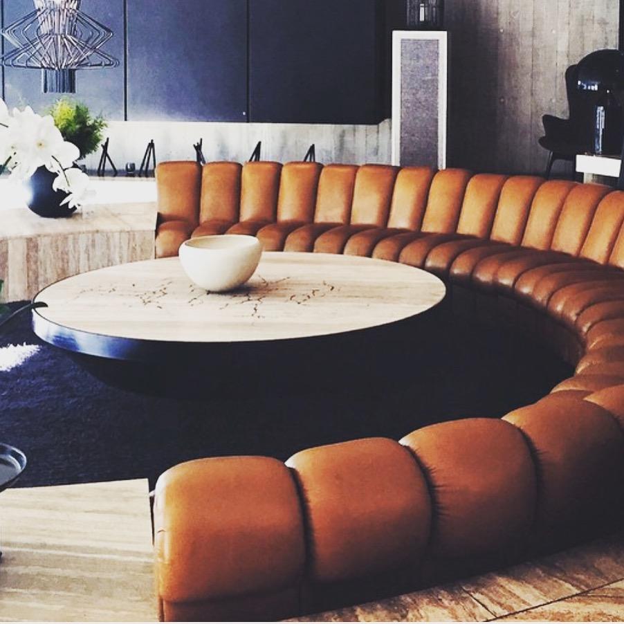 Ivy penthouse curved banquette. Image via merivale.com.au