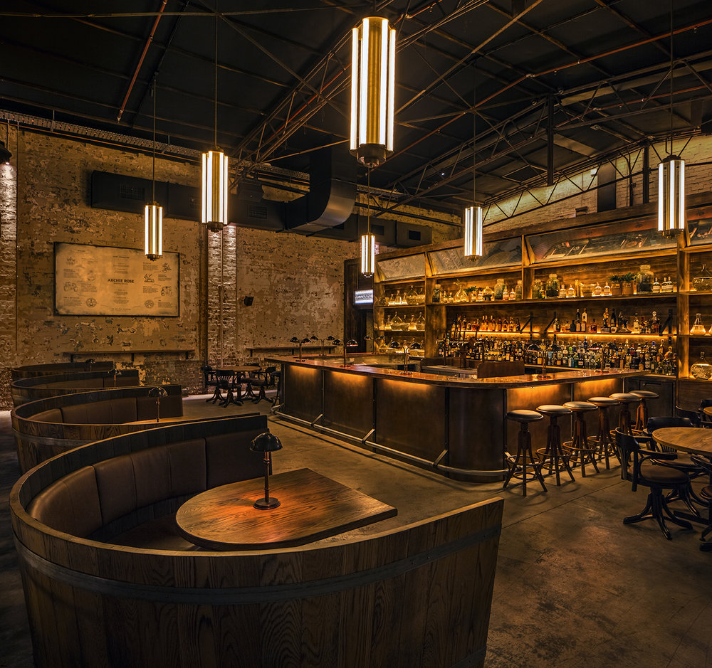 Archie Rose wine-barrel booths.  Image via calida.com.au