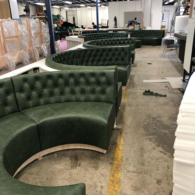 In production custom deep buttoned leather booth with rear walls. More images to come when finished #australianmadefurniture #boothseating #chesterfield #upholstery #topsolidwood #contract #nswleather