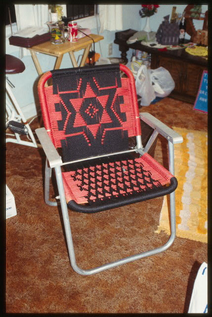 Armed with only textiles, a lawn chair frame, and skills handed down over the generations, this chair was made to serve both form and function.