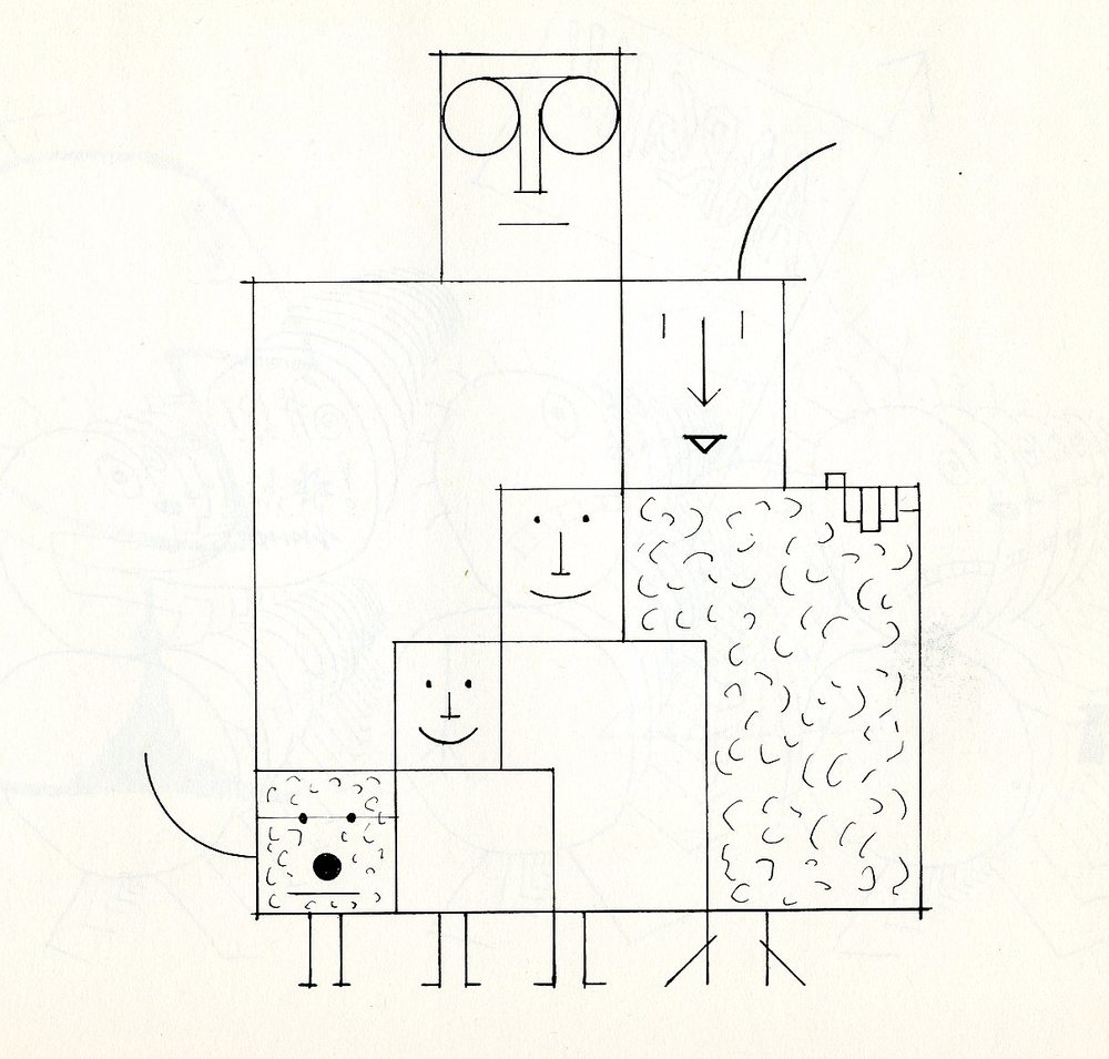 The concept of a nuclear family as rendered by Saul Steinberg.
