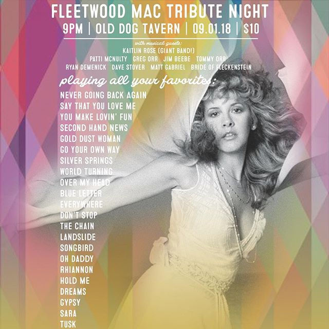 Show poster design for the Fleetwood Mac Tribute Night at @olddogtavern @kaitlinrosemusic