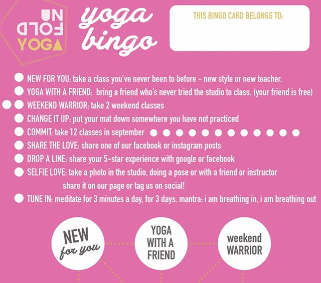 Yoga Bingo! Card design for @unfoldyogaoc What a great way to invite the clients at Unfold Yoga to challenge themselves and their practice. I just love what this studio is doing! 🙏☺️