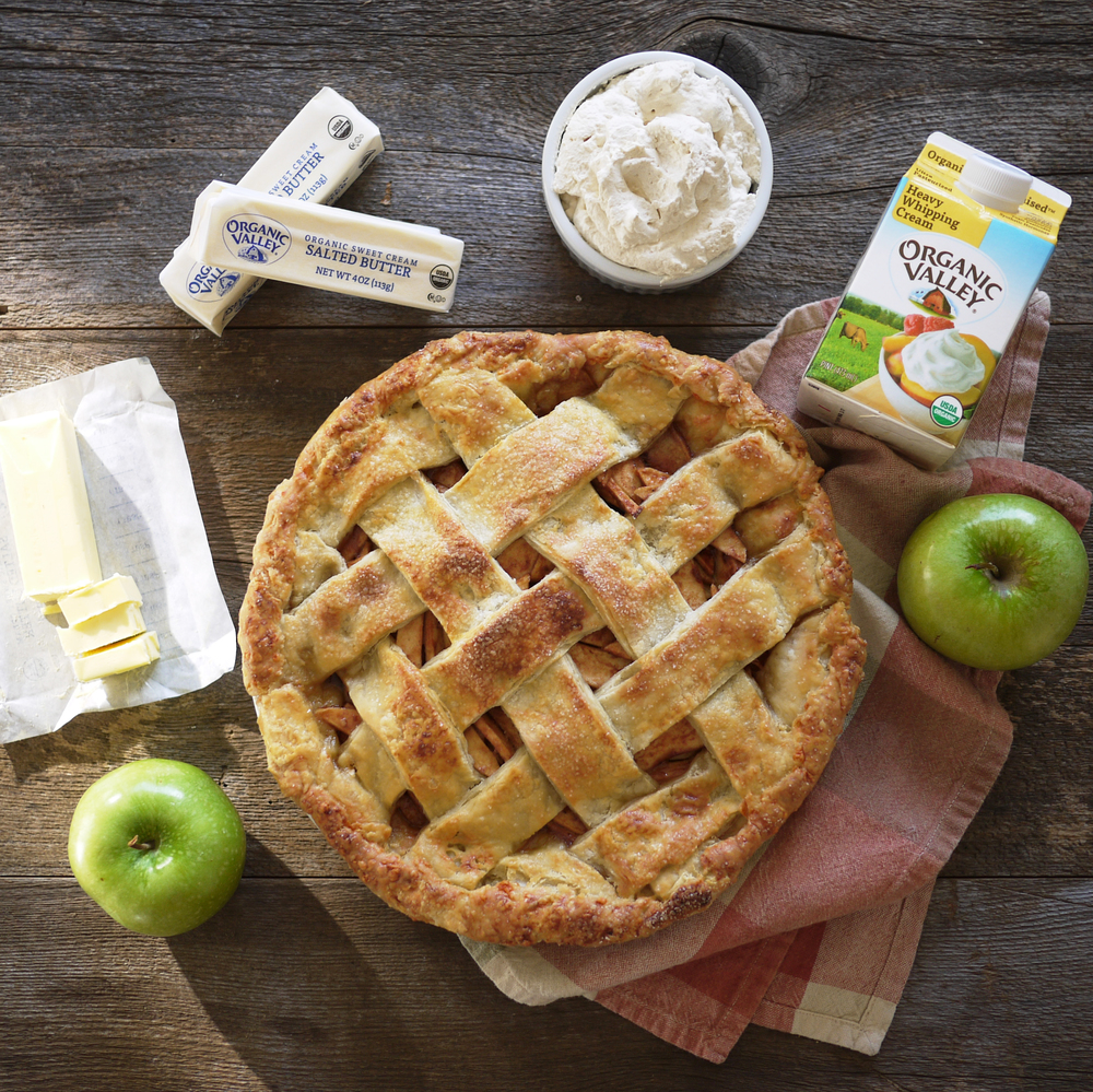 Spiced Apple Pie with Organic Valley Butter and whipped cream made from Organic Valley heavy cream.