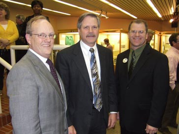 D.C. Coston, Ph.D., NDSU Vice President for Agriculture and Outreach, North Dakota Governor John Hoeven and NCI Director Brian Sorenson.