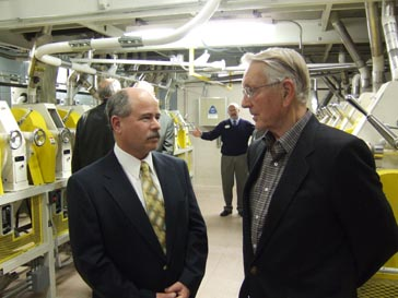 Brian Harris, (right), of Standard Industries had a main role in getting the mill up and running.