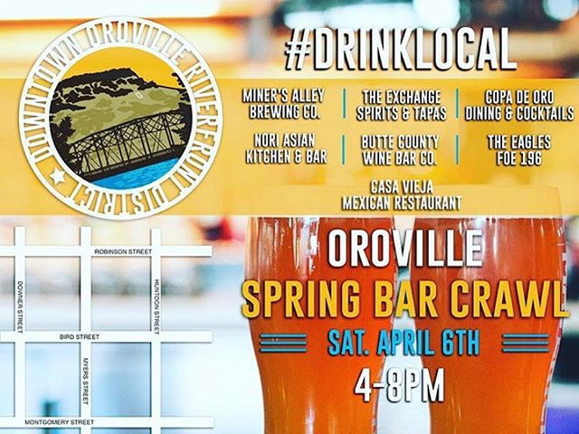 🍺going in right now in downtown Oroville. 7 participating spots!!! If you didn't already get your ticket you can still join in the fun. $6 at each spot. #drinklocal #saturdaynight #friends #riverfrontdistrict
