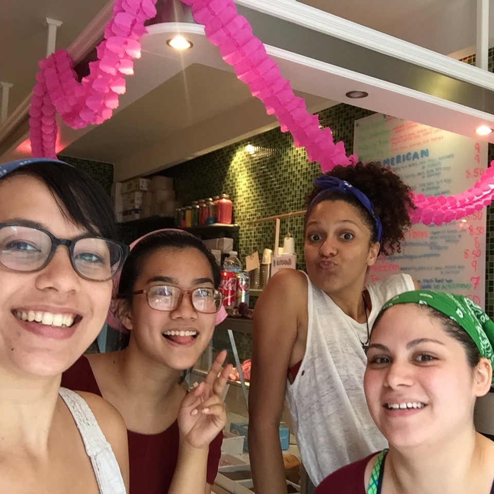 The crew on our last day!  Left to right: Jennifer Sharkey (me) @sharkeyscafe, Betty Lin @nycbettylin, Daizha Jimenez @doodle_dai, Samantha Rhodes @chickachu_18