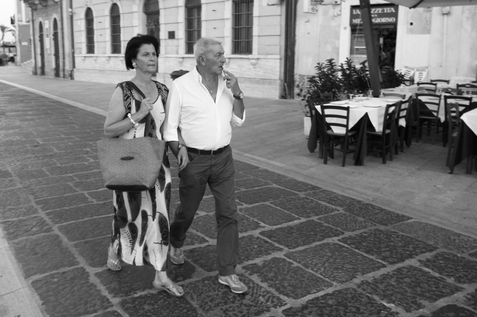 Enjoying an evening stroll - 'la passegiatta' - in Brindisi, Italy
