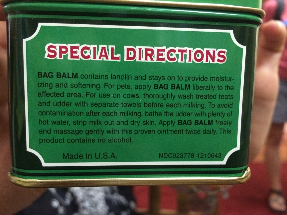 Bag balm is a staple of riders on our trip. Apparently, in addition to humans, it's also a favorite of cows??