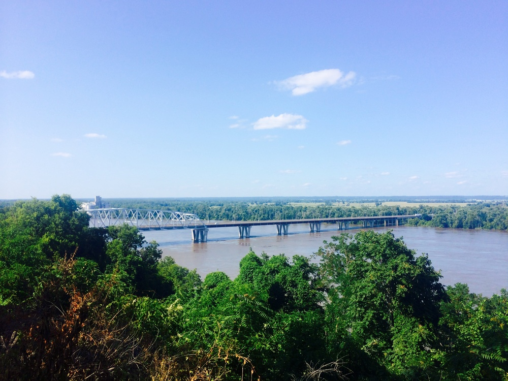 A view from the Mark Twain Memorial Lighthouse of the bridges we rode on to cross the Mississippi River