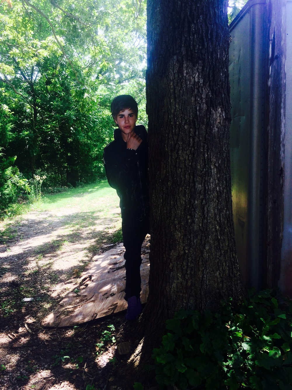 Bieber often lurks behind trees at lunch stops