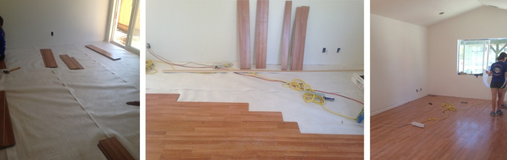 The before, during, and after of our laminate flooring installation in Sparks, NV!
