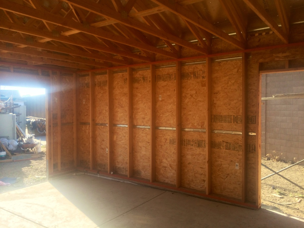 """One wall of the garage, where beams are spaced 24"""" apart, as opposed to the typical 16"""" in most homes."""