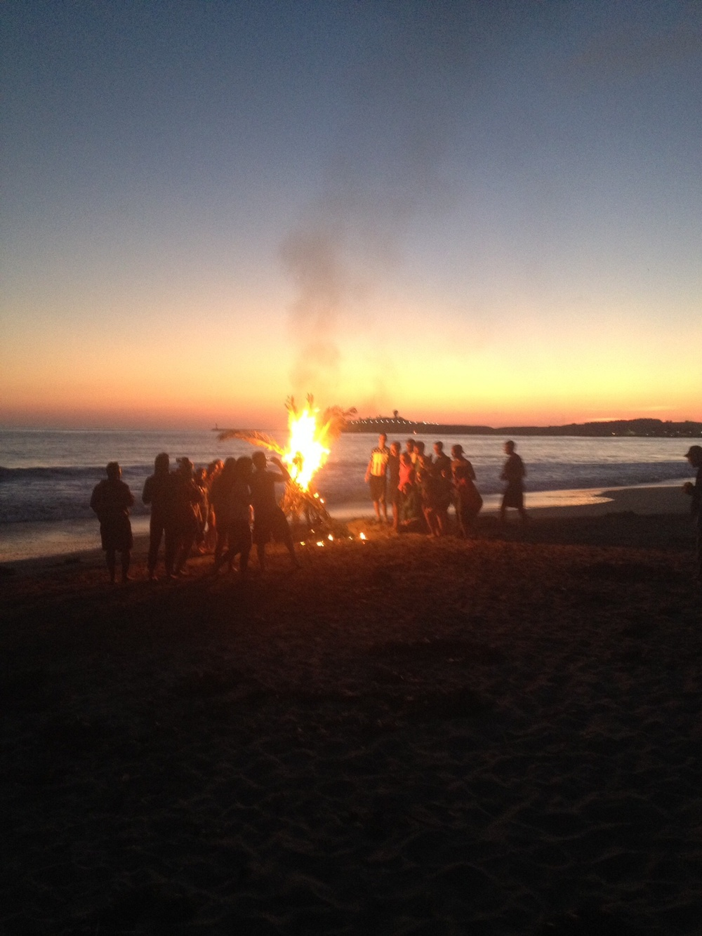 Our evening BBQ on Miramar Beach, Half Moon Bay. We almost got fined for having a bonfire on the beach, whoops!