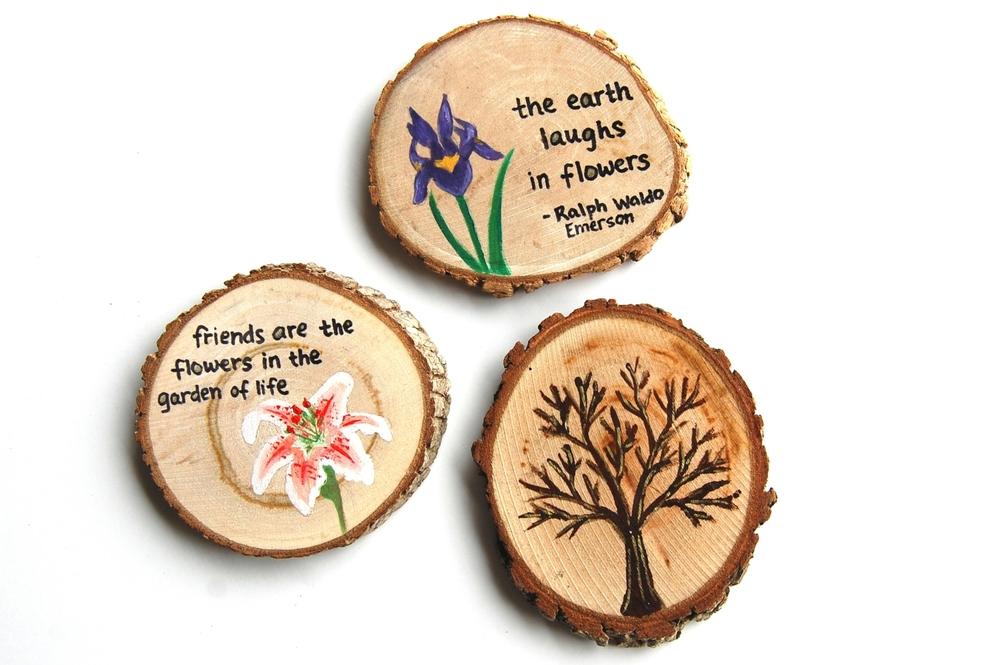 DIY Woodburned, Painted, or Stamped Wood Slices