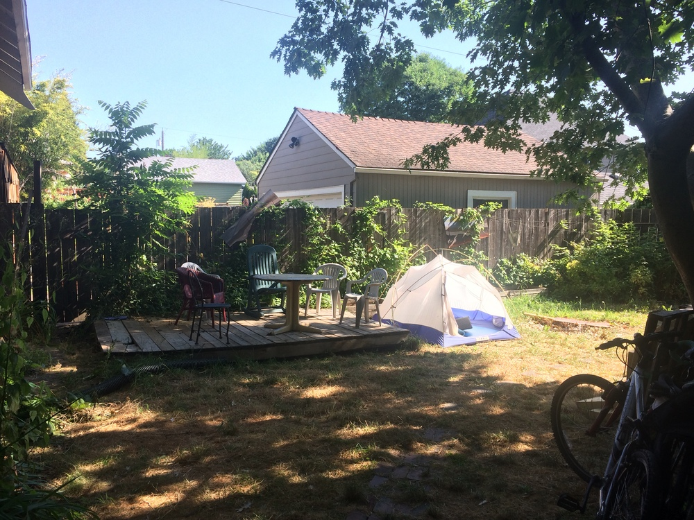 Our Airbnb tent in someone's backyard!