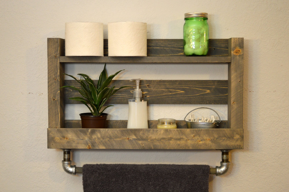 Modern Industrial Towel Bar with shelf, sold  here