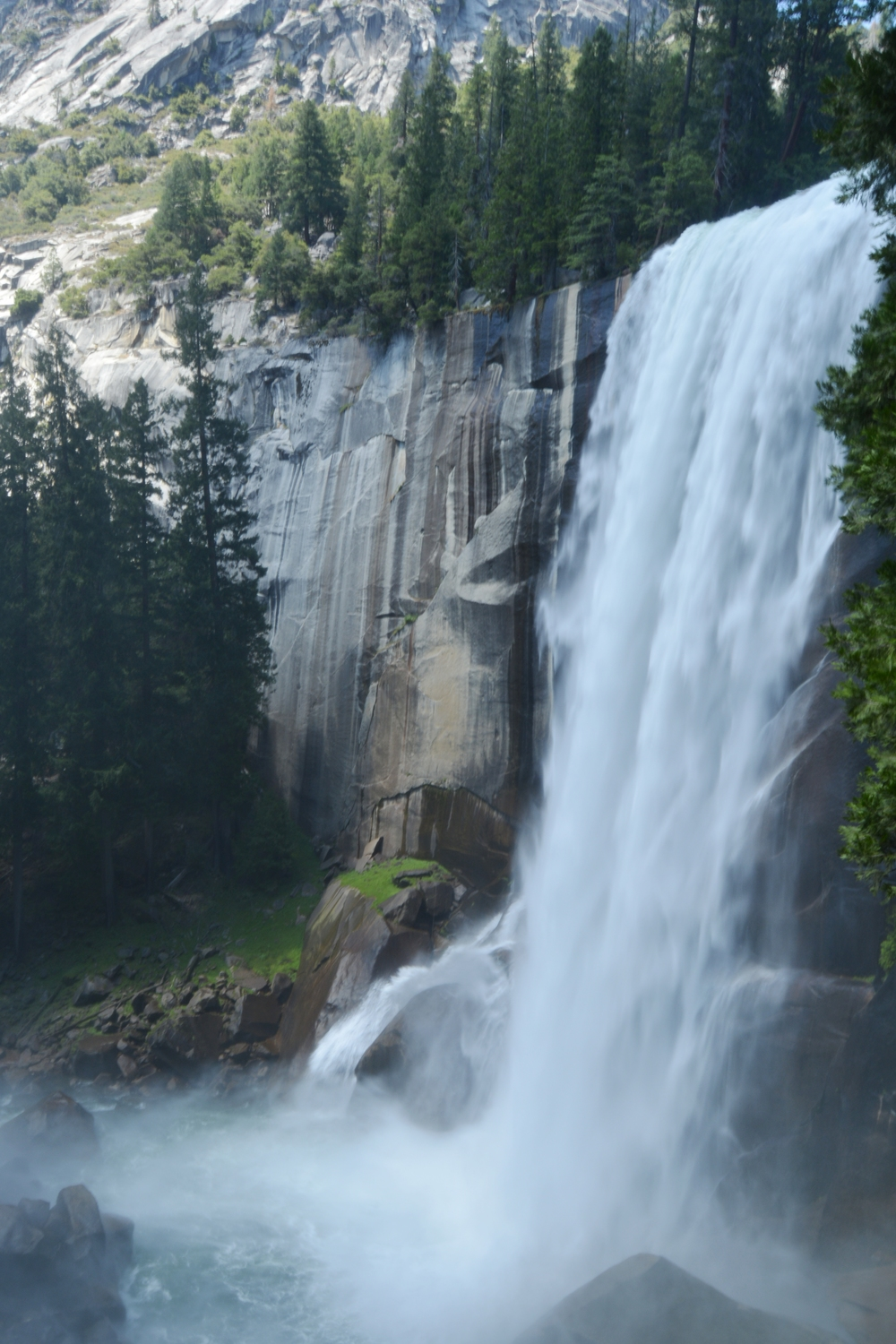 The view of Vernal Falls from the Mist Trail
