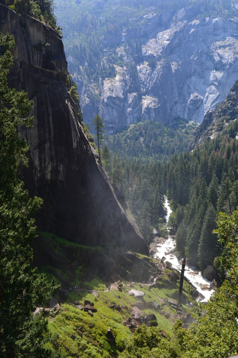 The view from the top of Vernal Falls, looking at the Mist Trail