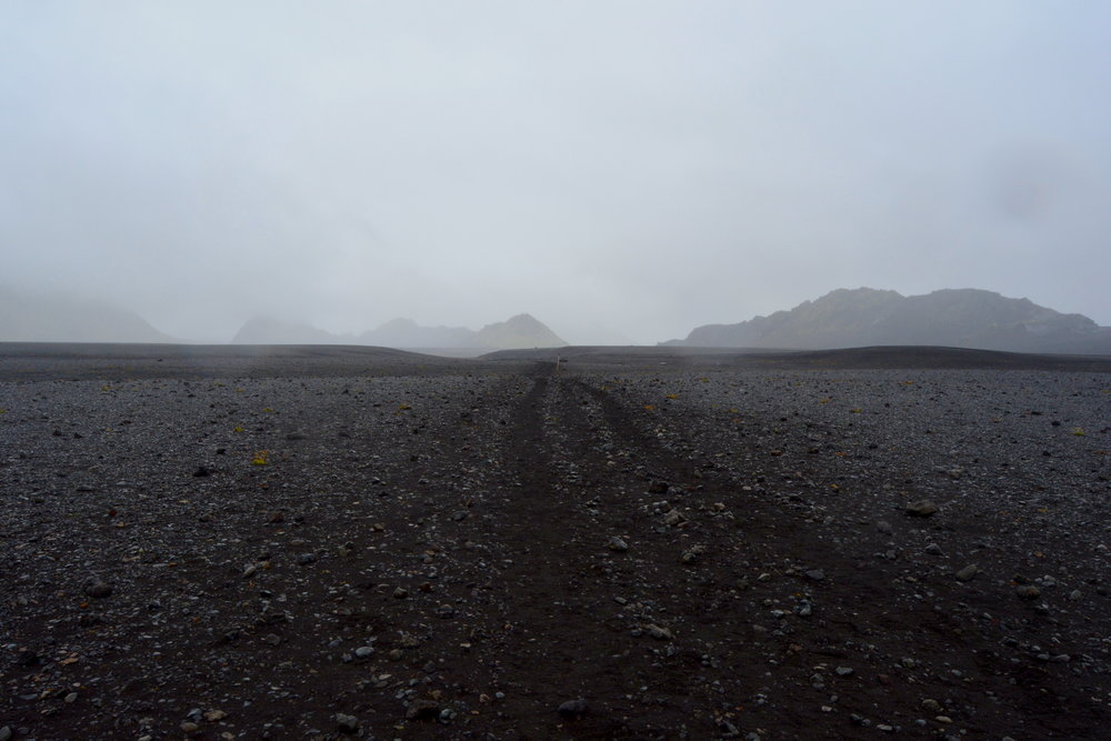 My only picture from day 3 - the foggy lava field looked like this all day!
