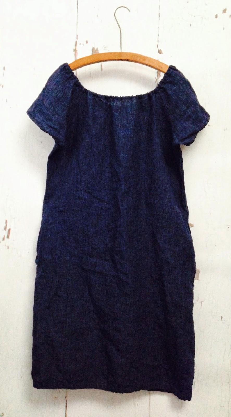linen short/cap sleeve dress with side seam pockets