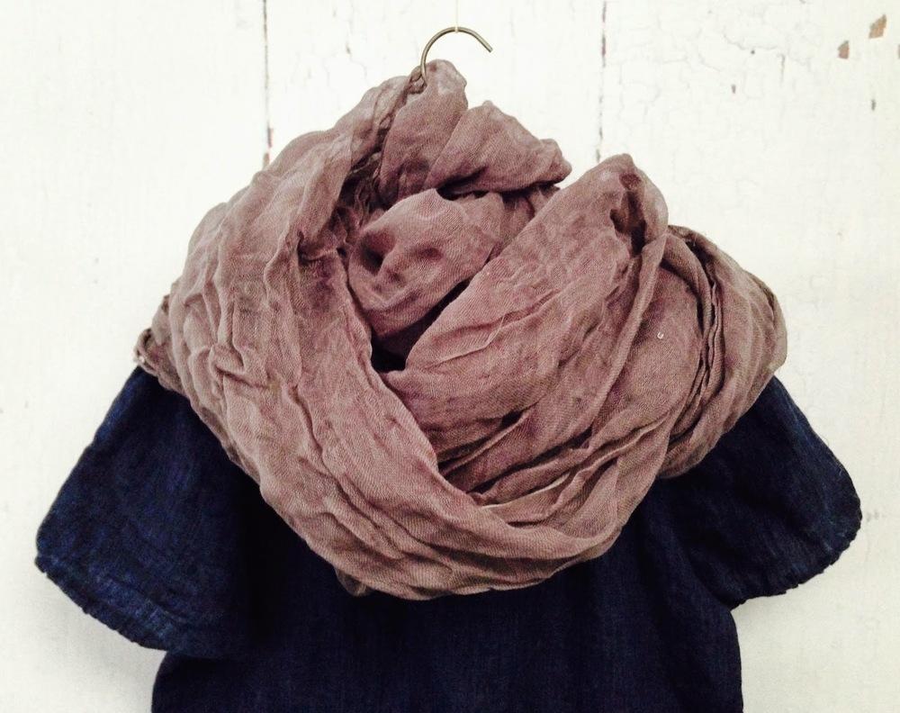 logwood dyed open weave linen scarf
