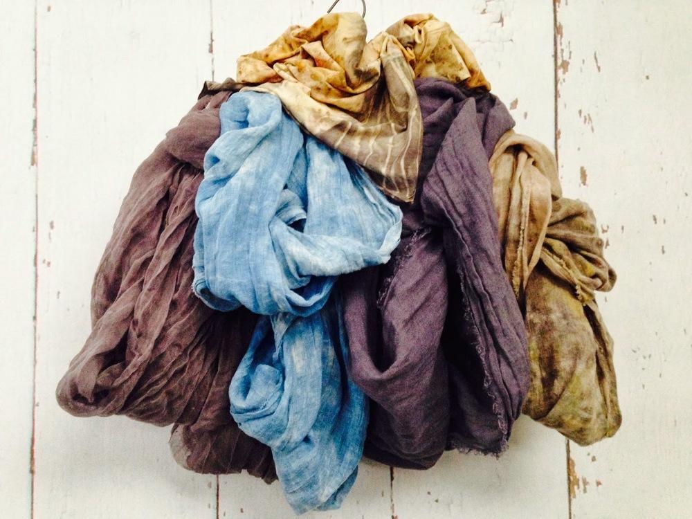 multi colored linen including indigo, logwood, and leaf prints