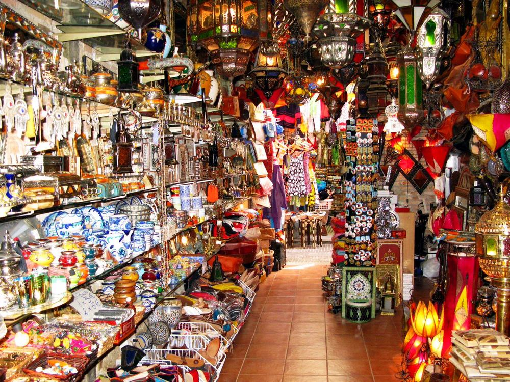 Shopping in Granada's Alcaiceria, only an hour from Villa Amapola.