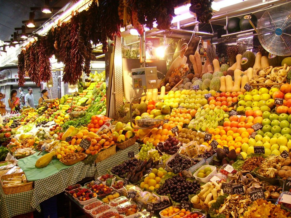 Fresh produce at Malaga market, an hour's drive from our holiday villa.