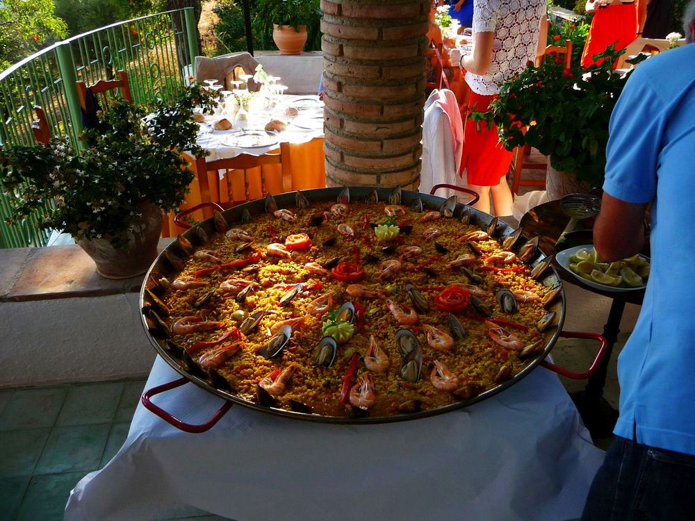 Delicious paella at our local hilltop restaurant, only 2 kms from Villa Amapola.