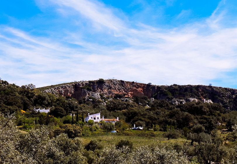 Villa Amapola seen against the mountain backdrop, surrounded by olive groves and huge holm oaks.