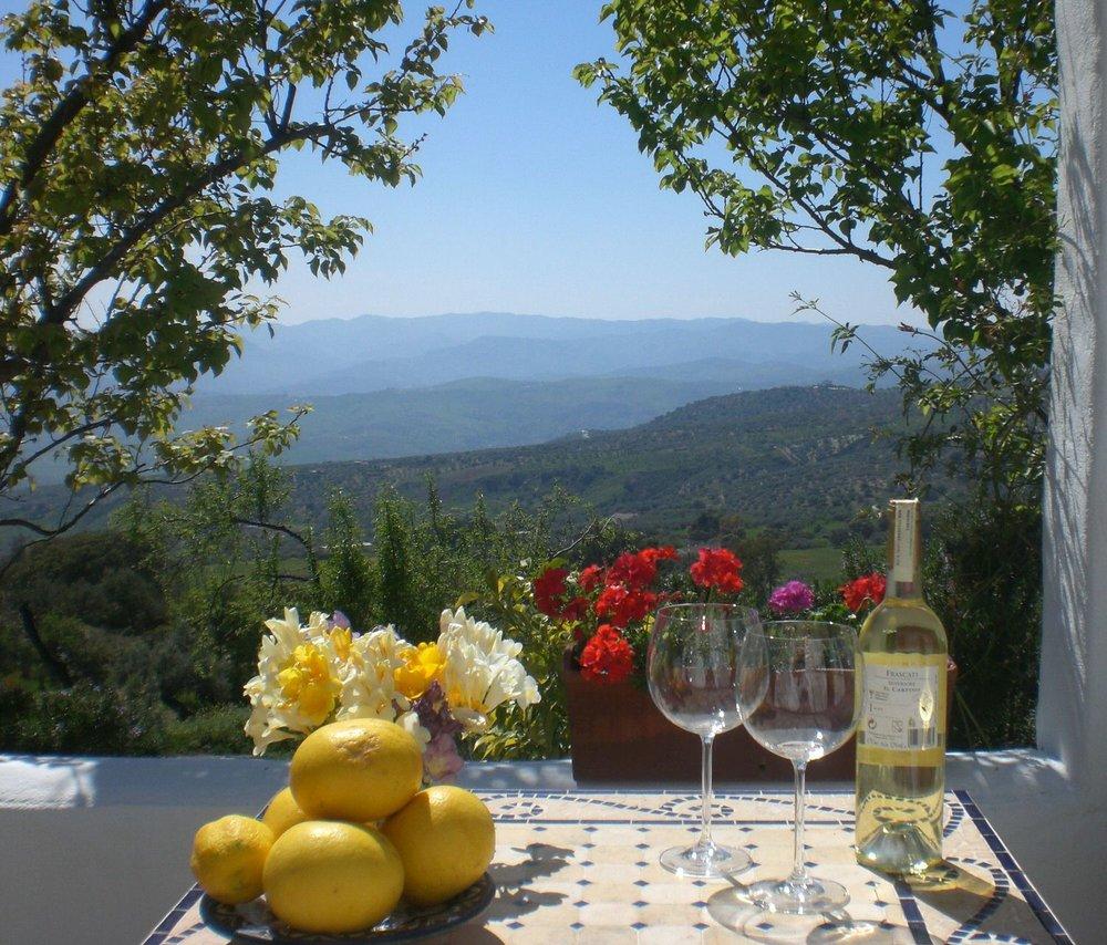 Local wine and home grown lemons