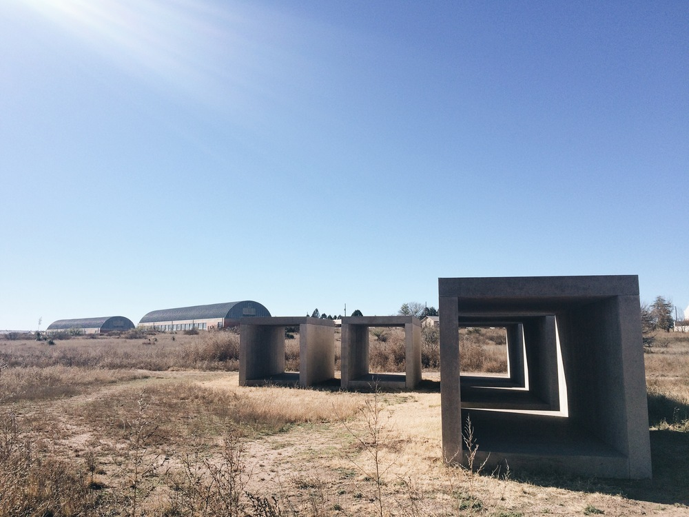 Donald Judd's outdoor sculptures at Chinati Foundation in Marfa, TX