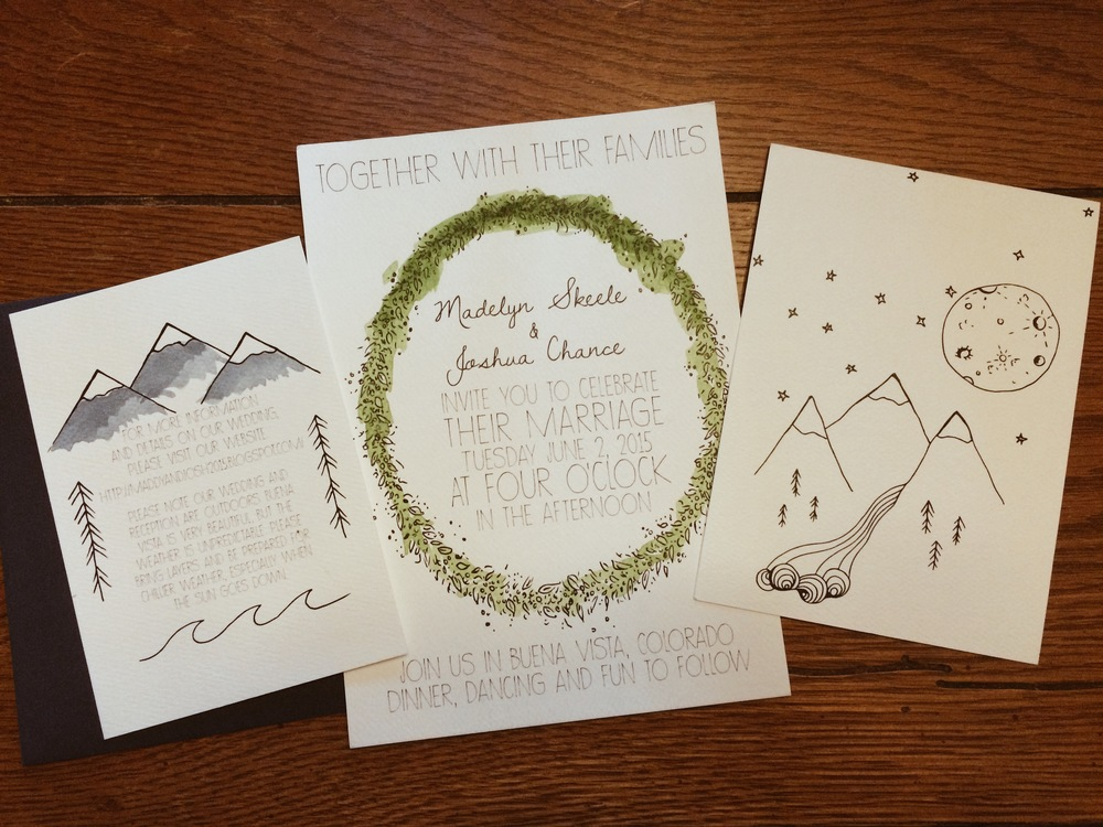 Original drawing printed on heavy stock watercolor paper, each individual invite hand painted by artist.
