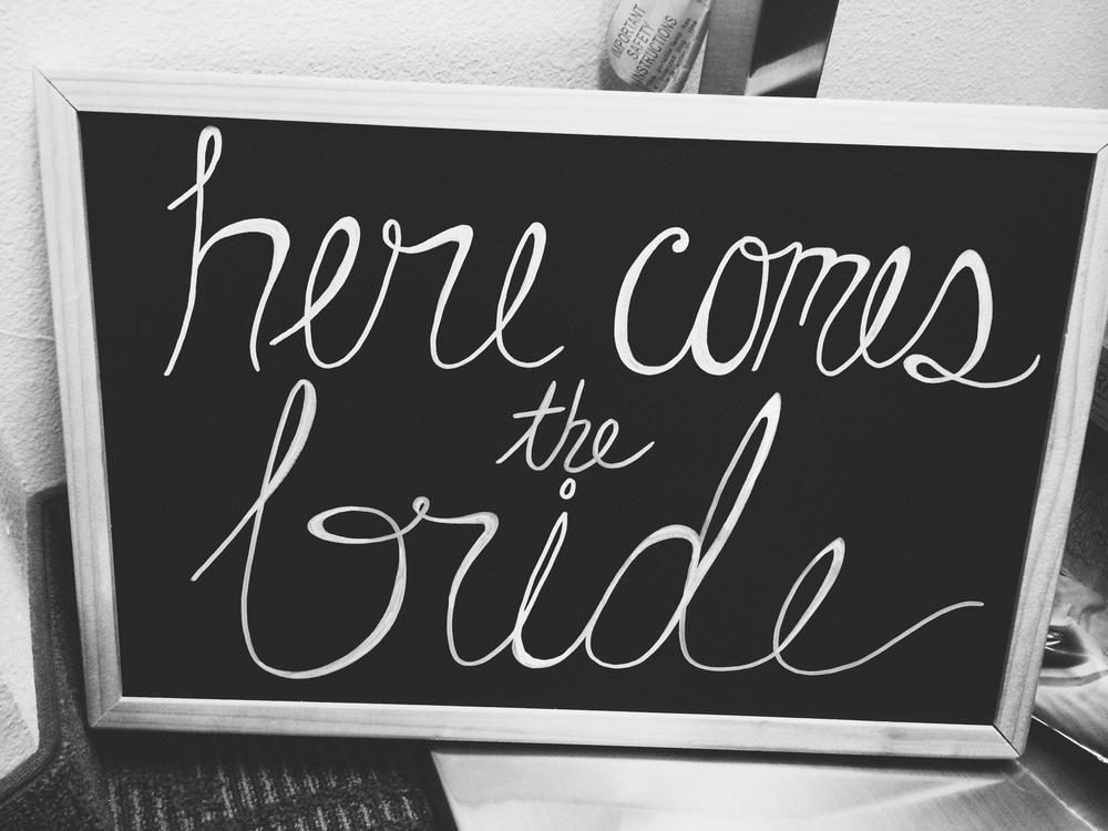Hand printed chalkboard signage for wedding.