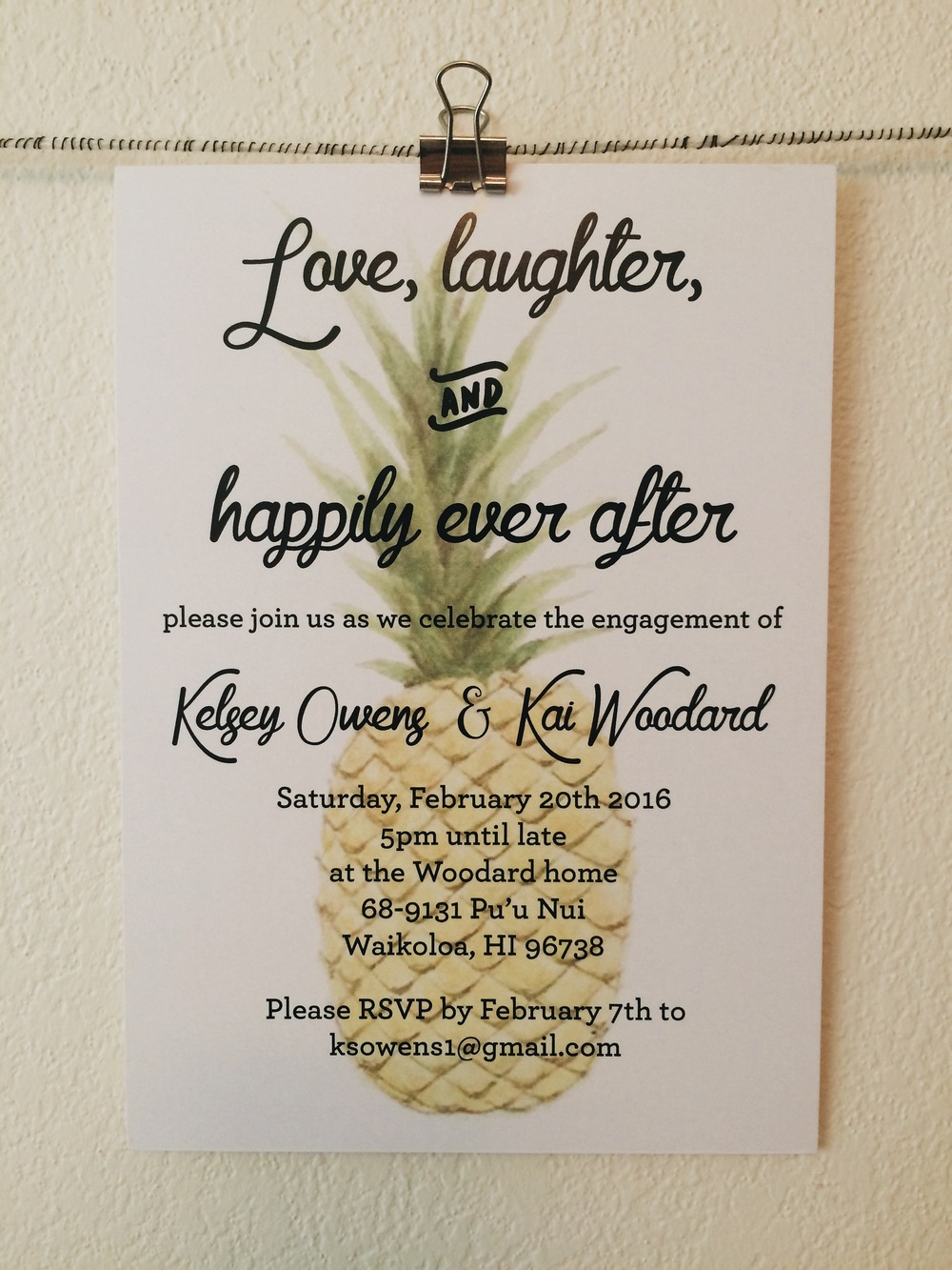 Original watercolor engagement party invites printed on heavy stock paper.