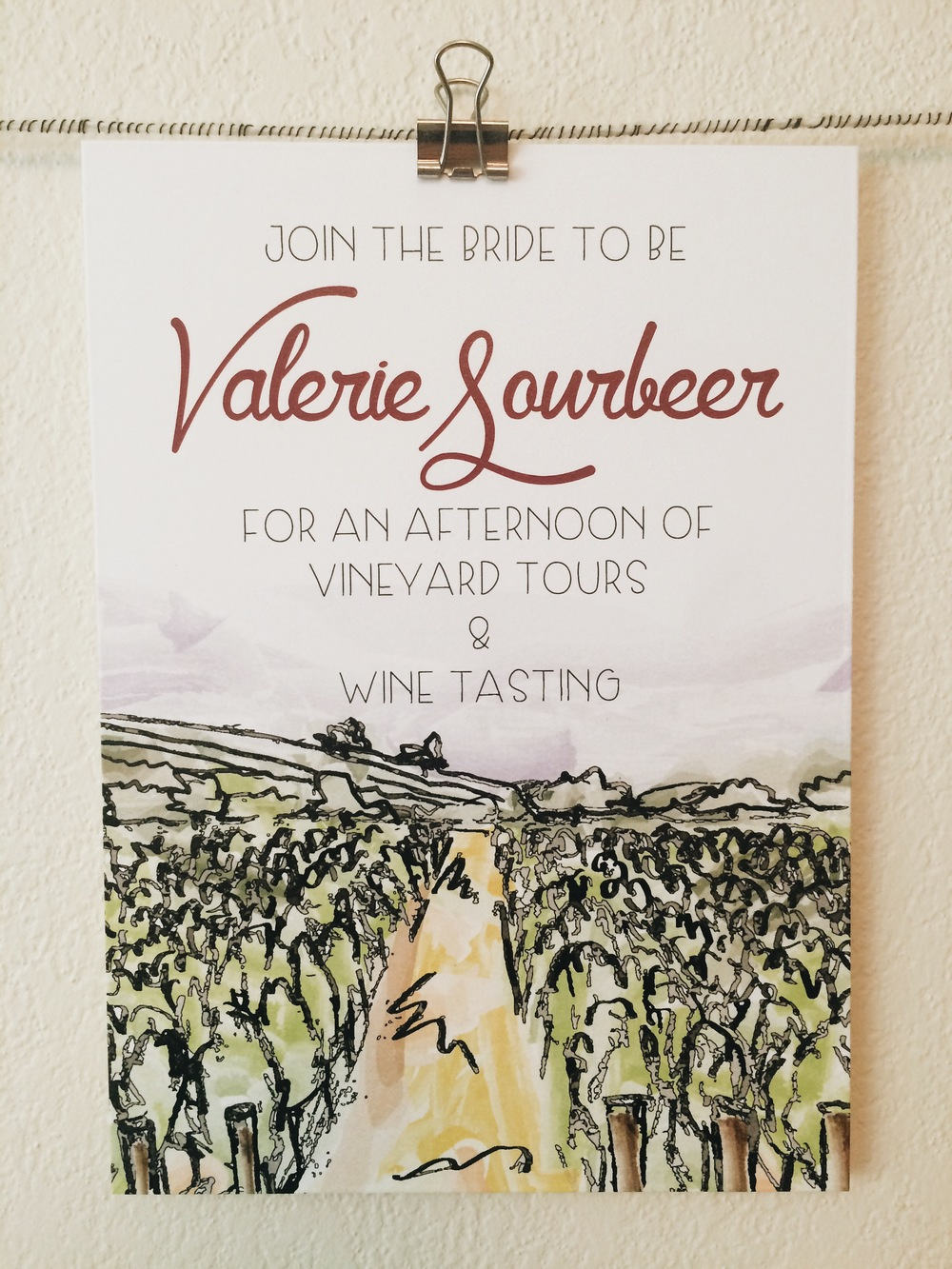 Original watercolor painting and drawing for bachelorette party invite.