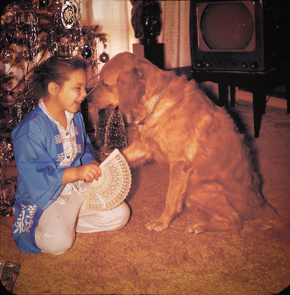 Valerie with her first dog Taffy, circa, 1961.