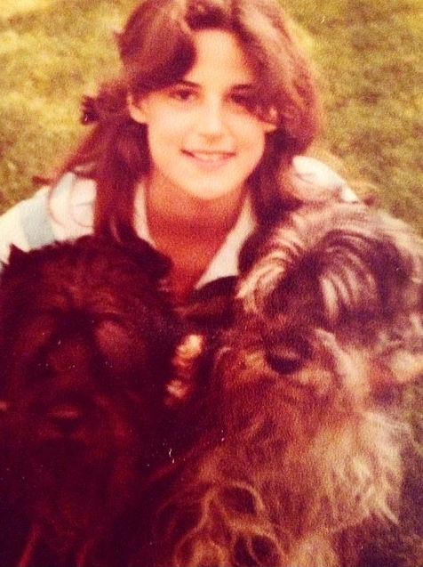 Julie and her two dogs growing up