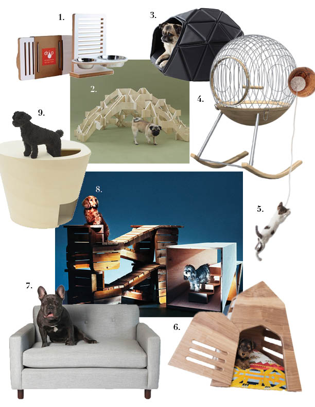 1. Drip Module,   The Wall-Nut    2. Kengo Kuma,   Mount Pug    3. Nendo Japan,   Heads of Tails House and Bed    4. Chimere Paris,   Rocking Birdcage      5. Laiafuste,   Cluc Cat Toy    6 . Gamla,    For Gimli Den        7. Yark,   Parker Lounger    8. Atelier Bow-Wow,    Architecture for Long-Bodied-Short-Legged Dogs   and Kenya Hara,   D-Tunnel    9. Architecture for Dogs,   Conch Shell D-Tunnel     Center Photo by     S    ebastian Mader