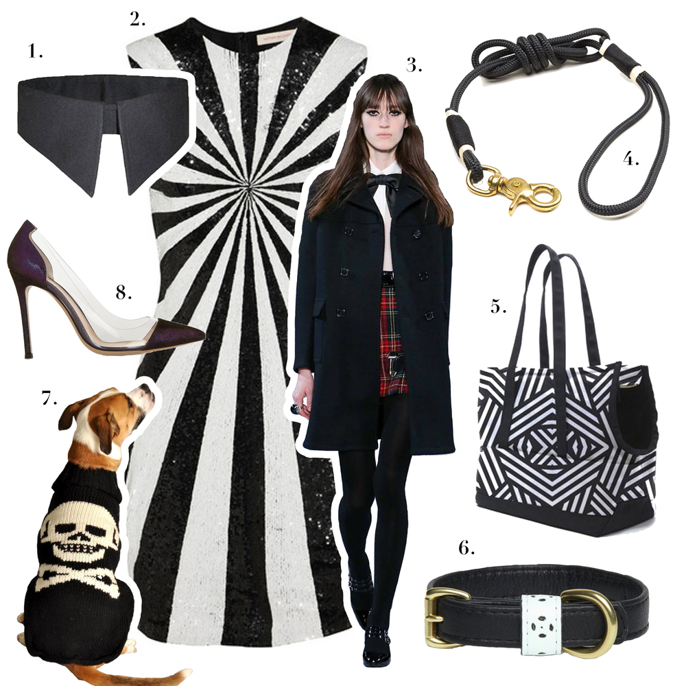 1. Designer Duds for Dogs, Calvin K-Nine Black Shirt Collar2. Mathew Williamson,Sequined Tulle and Silk Mini Dress3.Yves Saint Laurent, YSL Fall/Winter 2014 Collection 4. RuggedWrist sold at Shinola, Hudson Petitie Dog Leash 5. LoveThy Beast,Canvas Pet Tote Dazzle 6. Yark, Lyla Collar7. Chilly Dog Sweaters, Black Skull Sweater8. Gianvito Rossi,Metallic Suede and PFC Pumps