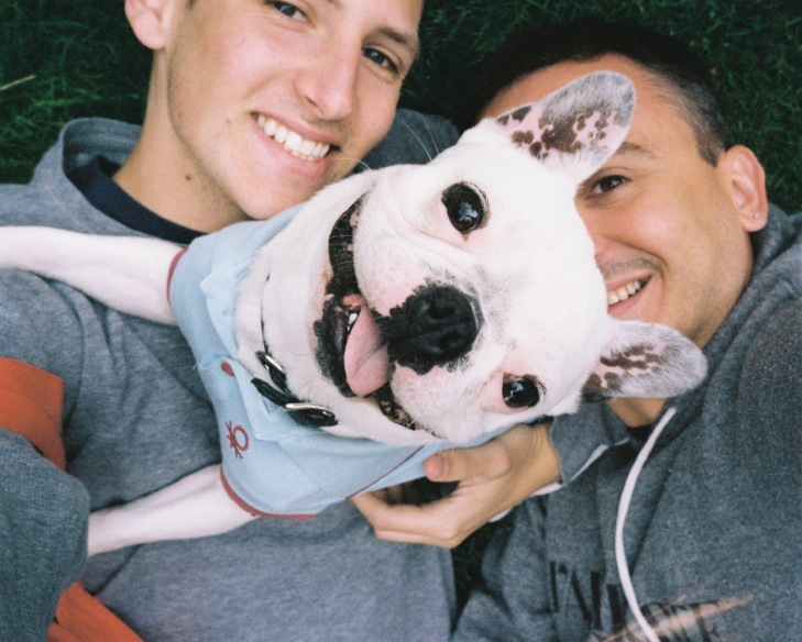Luis and partner, Leo Rydell Jost, with Perri, their dog